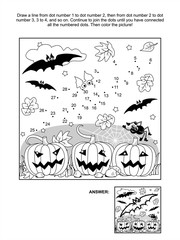 Connect the dots picture puzzle and coloring page - Halloween scene with bats, pumpkins, spider and spiderweb. Answer included.