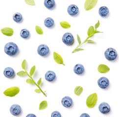Fresh blueberries and leaves, berry ornament pattern on white background, closeup, top view