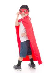 Asian child in in Superhero's costume