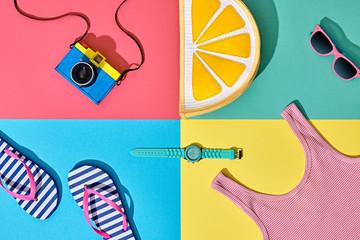 Fashion Film Camera, Retro Design. Summer Clothes Accessories Set. Pop Art Style. Glamor Lemon Citrus Clutch, Trendy fashion Sunglasses. Hipster Beach Outfit. Hot summer color.Creative Bright Concept