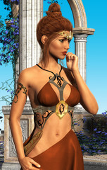 Fantasy queen in longing pose and in beautiful exterior, 3D CG