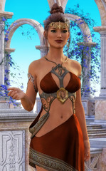 Fantasy queen in beautiful exterior, 3D CG