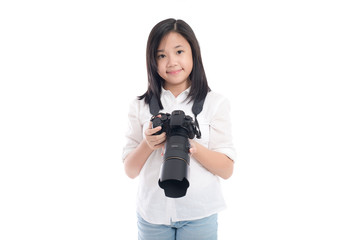 Cute asian girl holding  camera