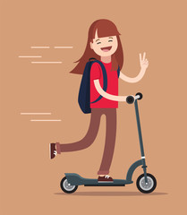 Cute school girl enjoying riding scooter.Happy teenage girl  riding kick scooter outdoors. Kids sport. Girl having free time playing. Flat vector  illustration