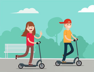 Happy kids riding kick scooters in public park.    Kids sport. Teenage girl and boy having free time playing outdoor. Flat vector illustration