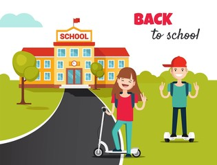 School building and front yard with students children. School background with back to school concept in flat style. Vector illustration