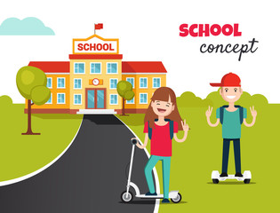 School background with graduation concept in flat style. School building and front yard with students children.