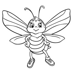 Cute bee flies. Isolated on a white background. Outlined for coloring book.