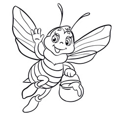 Cute bee flies with clay pot full of honey. Isolated on white background.Outlined for coloring book.