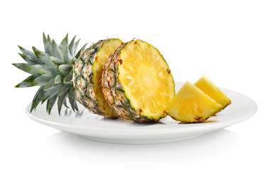 pineapple in white plate on white background