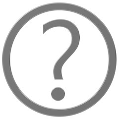 question mark interrogation point silver grey gray 3d query sign asking symbol icon isolated on white background in high resolution