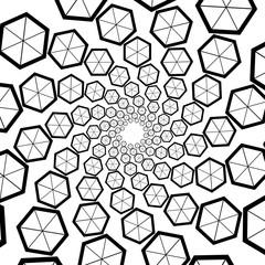Background, pattern, black and white spiral pattern. Round centered Halftone illustration. Hexagon, honeycomb, honey, commerce, business.