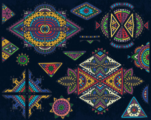 Set of tribal art boho hand drawn geometric pattern