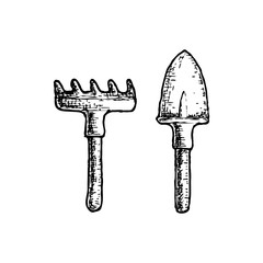 Garden tool and farming instrument - scoop and rake. Farming equipment sketch illustration. Vector