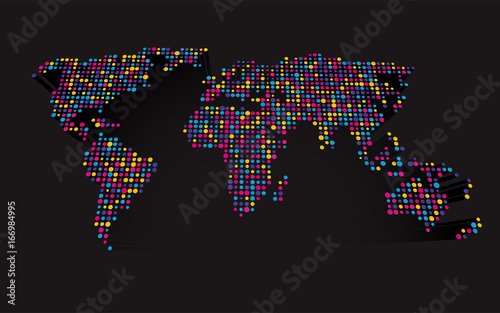 Abstract 3d world map made up of small colorful dots stock image abstract 3d world map made up of small colorful dots gumiabroncs Images