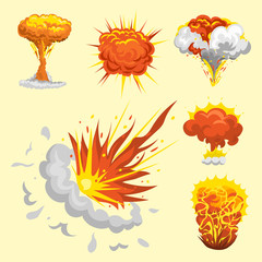 Cartoon explosion boom effect animation game sprite sheet explode burst blast fire comic flame vector illustration.