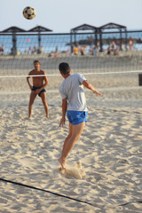 Game foot volley on the rune of the Mediterranean Sea