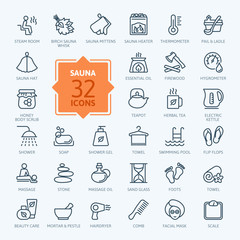 Sauna - outline web icon set, vector, thin line icons collection