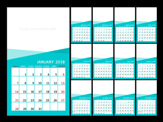 Calendar year design.  Vector  illustration Template. Set of twelve Months. Week Starts Sunday.