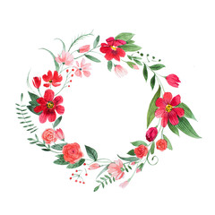 Delicate floral coronet made of pink and red flowers and leaves hand-drawn with watercolor