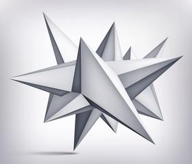 Volume geometric shape, 3d levitation crystal, creative low polygons object, vector design origami star form