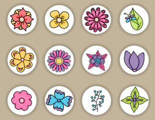 Flowers hand drawn cartoon elements set. Spring or summer concept stickers and badges. Vector illustration doodle.