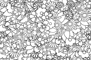 Flowers hand drawn cartoon card background. Spring or summer concept. Outlined black and white coloring page. Vector illustration doodle.