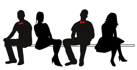 silhouettes of sitting people, men and women