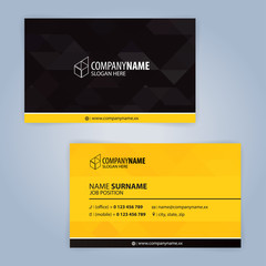 Black and Yellow Modern business card template, Illustration Vector 10