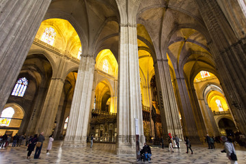 Interior of the Cathedral of Saint Mary of the See in Seville, Andalusia