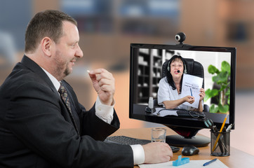Businessman is happy with telemedicine service