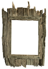 Frame wood country style on isolated white background