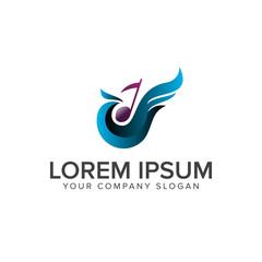 birds and music logo design concept template