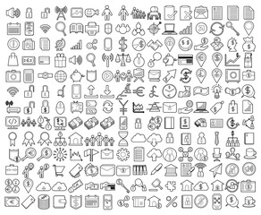 208 set of line icon of Business, company, SEO,bank teamwork, .money, mobile, computer, social, finance, exchange eps10