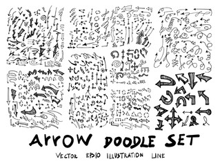 Vector hand drawn arrows set isolated on white eps10