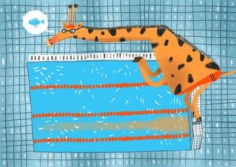Cartoon illustration of giraffe in waterpool
