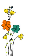 Design of Hand drawn doodle flowers set for your text on white background. Illustration