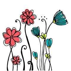Design of Hand drawn doodle flowers set on white background. Illustration