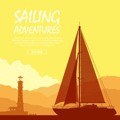 Sailing yacht at sunset. Landscape with luxury yacht and huge lighthouse on the mountain background. Vector illustration.