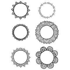Vector design of vintage Mandala doodle elements. Frames and wreaths