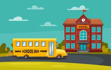 Back to school. Children on the yard. Cartoon vector illustration