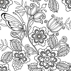 Seamless ornament flowers and butterflies for the anti stress coloring page