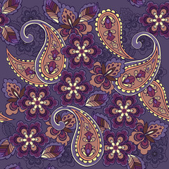 Oriental seamless paisley pattern on a blue background. Decorative ornament backdrop for fabric, textile, wrapping paper