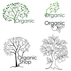 Set of drawings of trees and design elements related to the environment. Organic shop