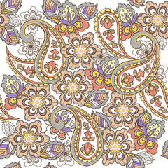 Oriental seamless paisley pattern in pastel colors. Decorative ornament backdrop for fabric, textile, wrapping paper