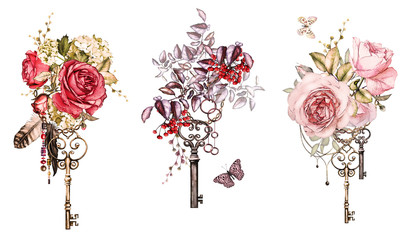 Set watercolor illustration with roses and other flowers, berry,  keys and feathers. Tribal background with flowers, jewelry, butterfly. Cool print on T-shirt, Tattoo. Vintage