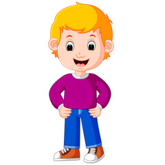 Cute boy cartoon good posing