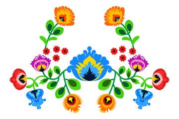 Folk embroidery ornament with flowers. Traditional authentic polish pattern decoration - wycinanka, Wzory Lowickie