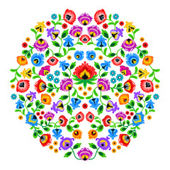 Folk embroidery ornament with flowers. Traditional authentic polish pattern decoration - wycinanka, Wzory Lowickie