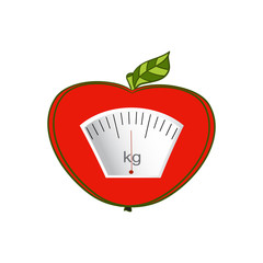Vector. Hand-painted. The concept of weight loss, healthy lifestyles, diet, proper nutrition. Fruit and scales.